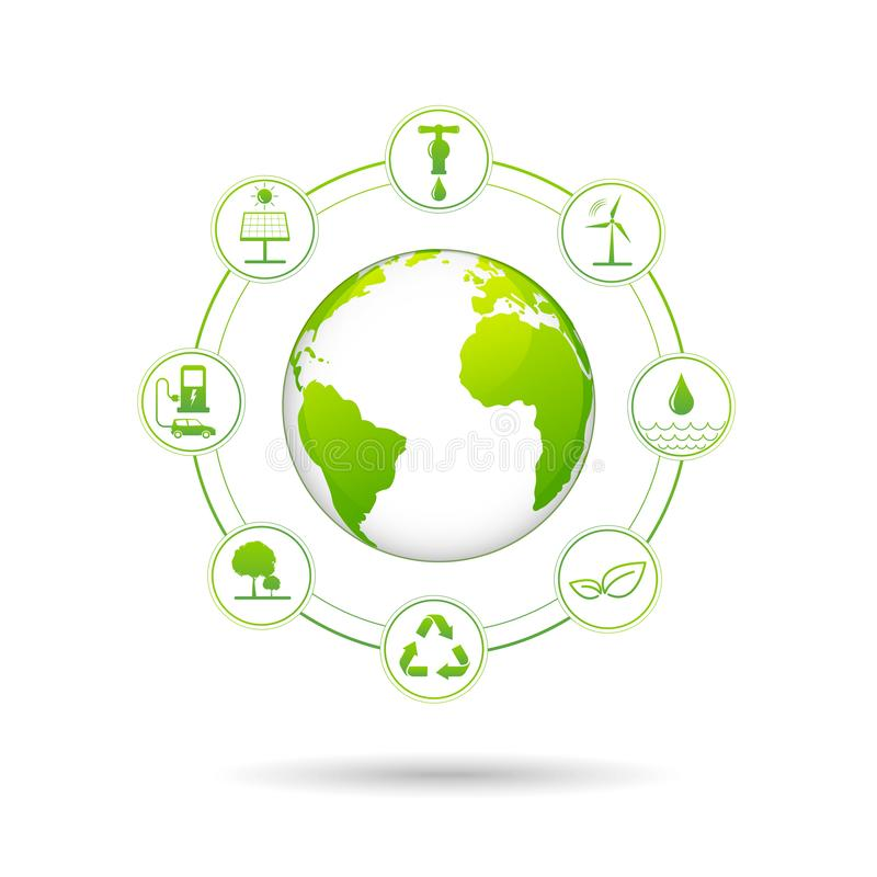 Free Ecology Concept With Renewable Energy Icons For World Environment Day And Sustainable Development Concept Royalty Free Stock Image - 152608896