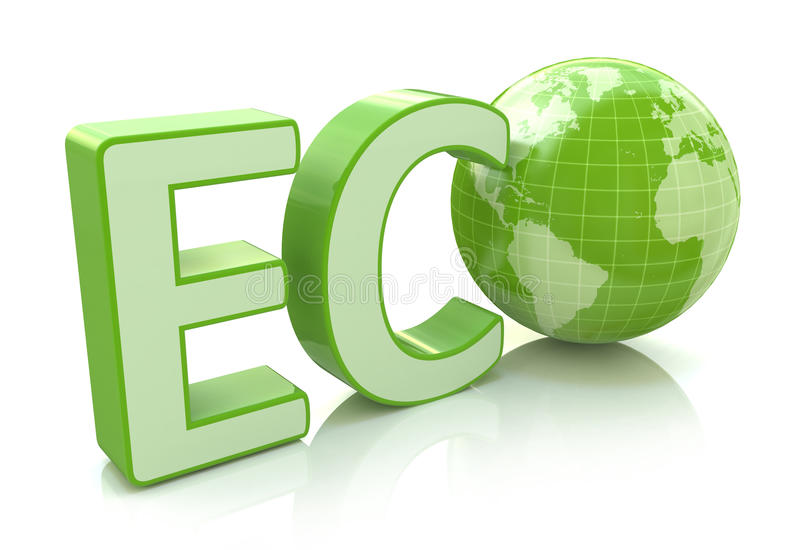 Ecology conservation, environment protection and nature saving. Business concept: 3D render illustration of green eco word with Earth globe map isolated on vector illustration