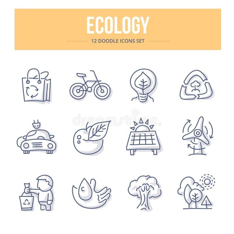 Ecology Doodle Icons royalty free illustration