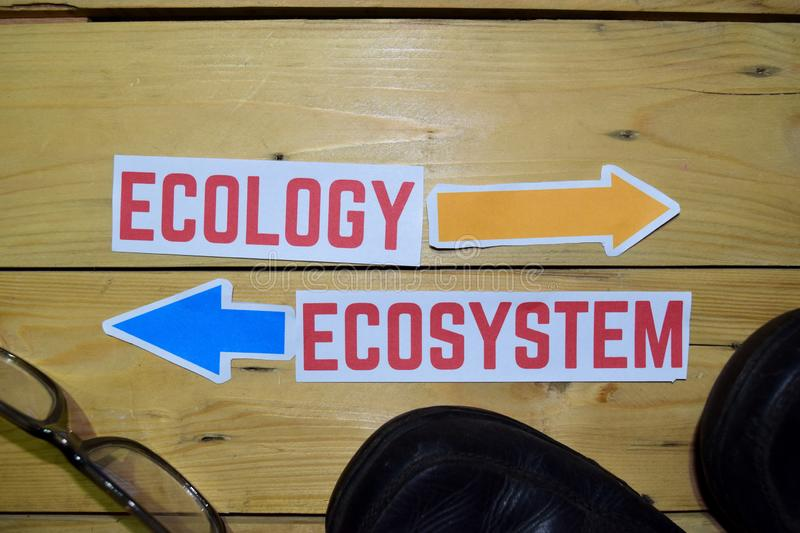 Ecology or Ecosystem opposite direction signs with boots and eyeglasses on wooden. Vintage background. Business, education and concepts stock photography