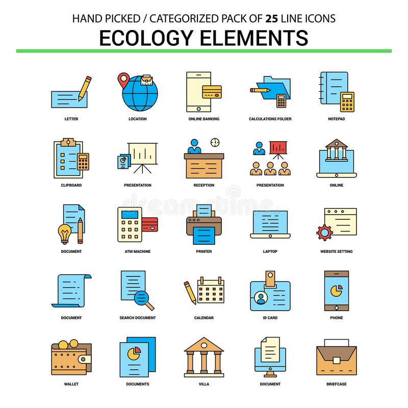 Ecology Elements Flat Line Icon Set - Business Concept Icons Design vector illustration