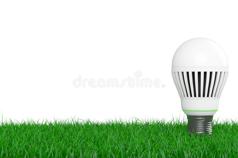 Ecology Energy Save Concept. Led Bulb over Grass. 3d Rendering vector illustration