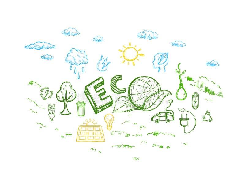 Ecology Energy Sketch Elements Set stock illustration