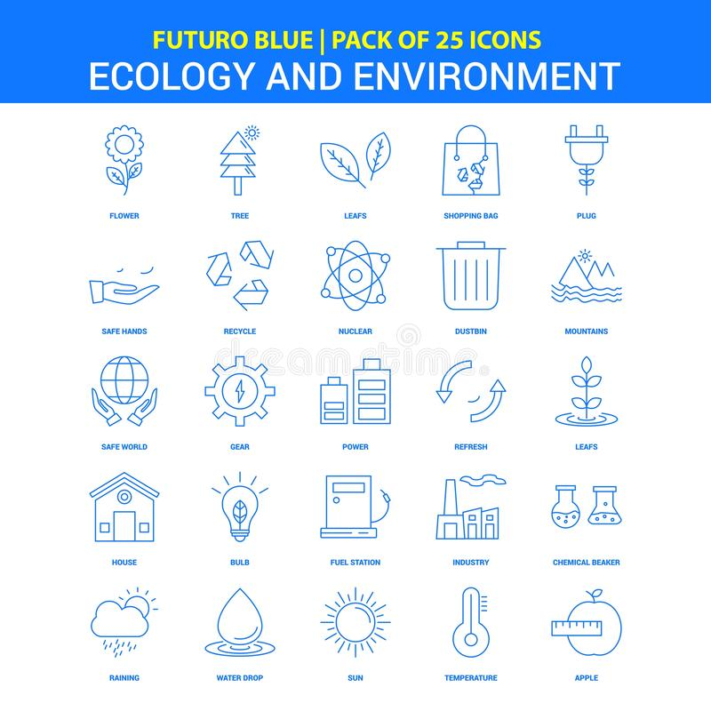 Ecology and Enviroment Icons - Futuro Blue 25 Icon pack. This Vector EPS 10 illustration is best for print media, web design, application design user stock illustration