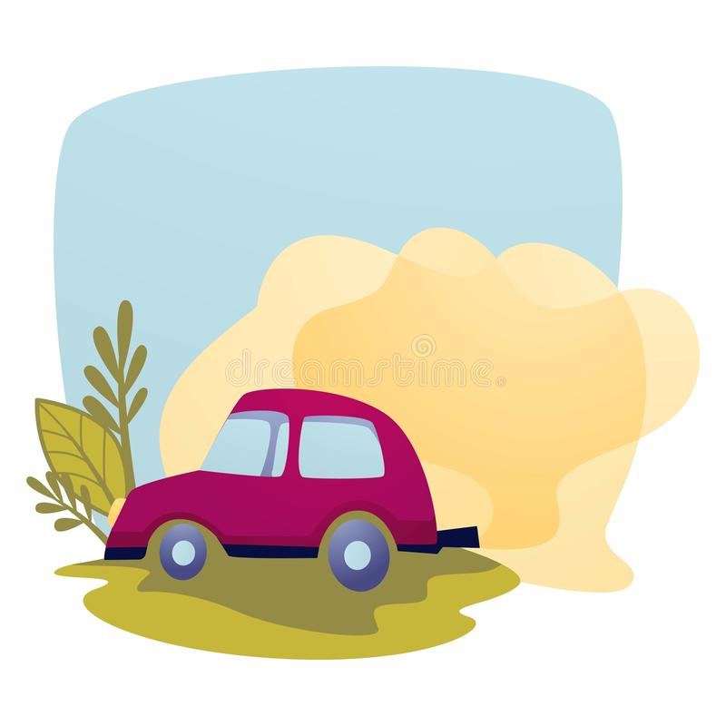 Air pollution car exhaust contamination and emission ecology. Ecology and environment air pollution car exhaust contamination and emission vector vehicle or royalty free illustration