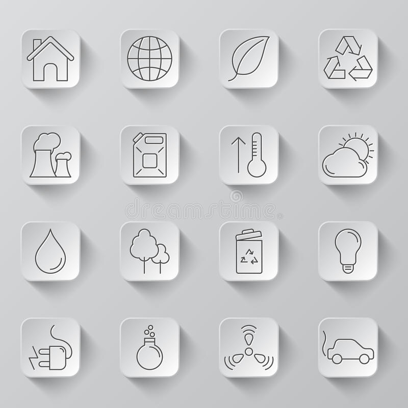 Ecology and Environment Icons stock illustration
