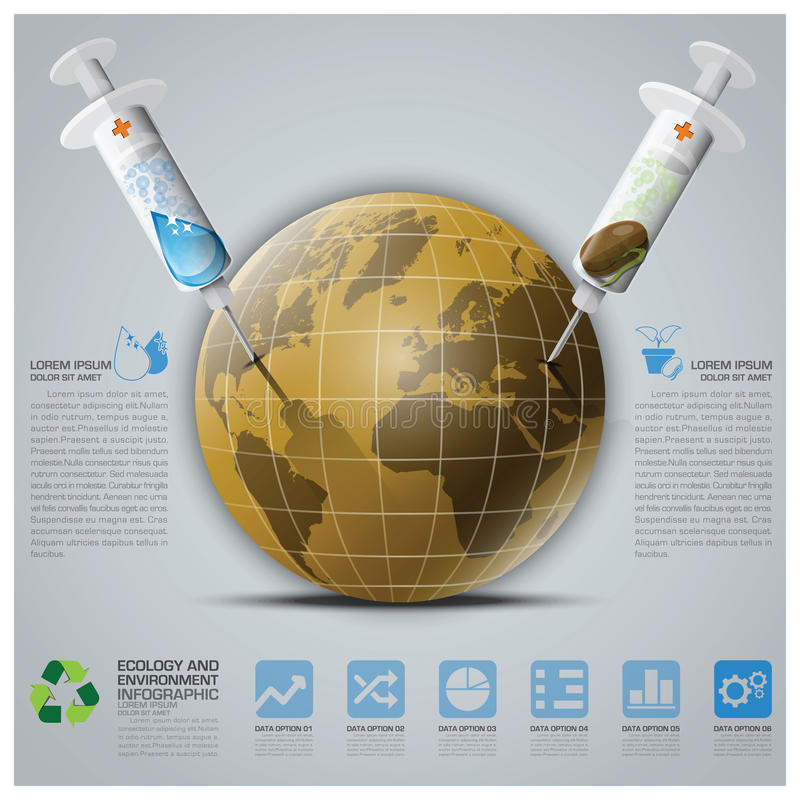 Ecology And Environment Infographic With Syringe To Save The Ear. Th Vector Design Template vector illustration