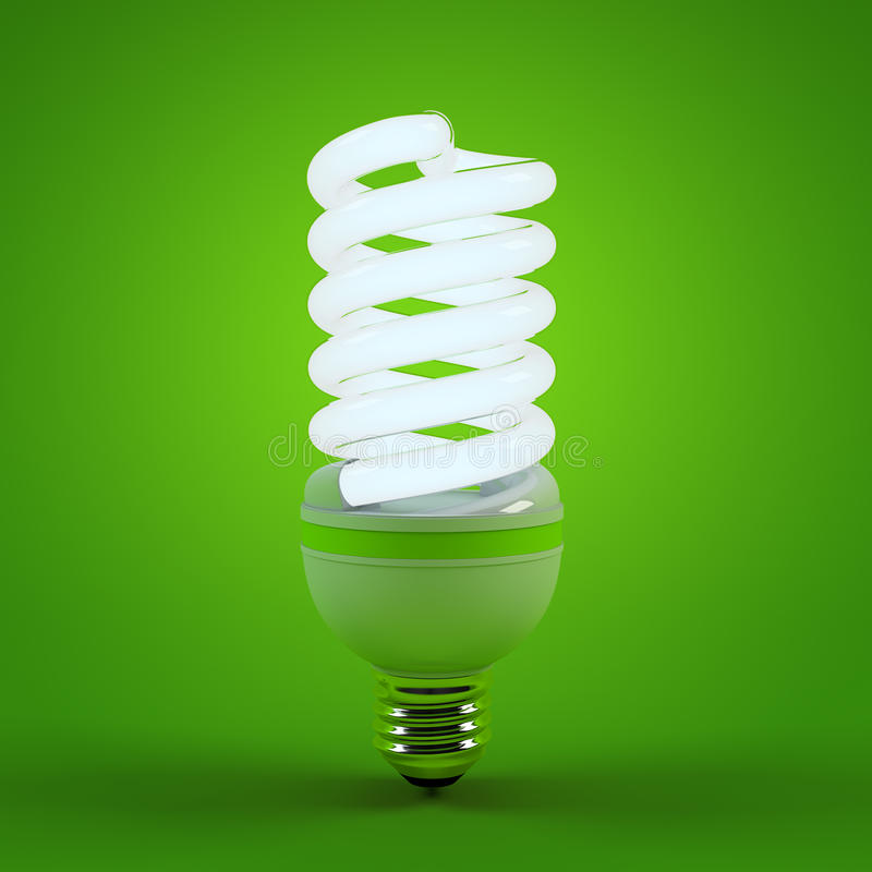 Ecology environment and saving energy, fluorescent light bulb concept of successful business. Energy saving solutions stock illustration