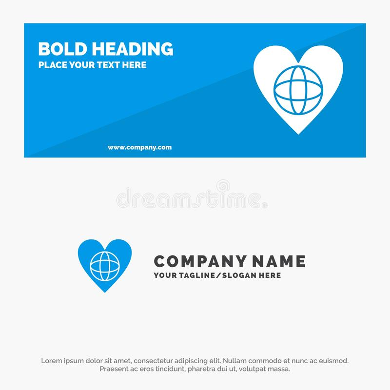 Ecology, Environment, World, Heart, Like SOlid Icon Website Banner and Business Logo Template vector illustration