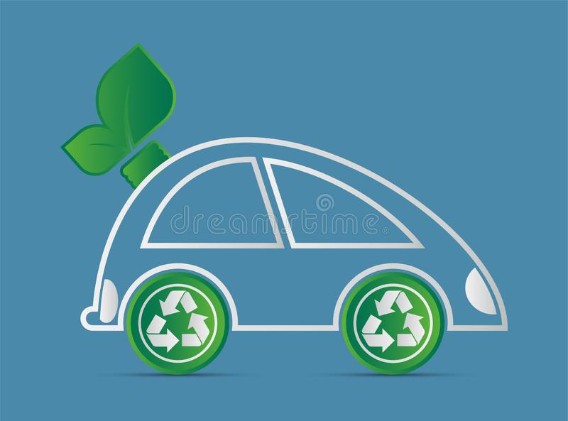 Ecology and Environmental Cityscape Concept,Car Symbol With Green Leaves Around Cities Help The World With Eco-Friendly Ideas. Energy, nature, power, design royalty free illustration