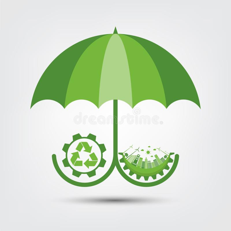 Ecology and Environmental Concept,Earth Symbol With Green Leaves Around Cities Help The World With Eco-Friendly Ideas. Nature, plant, background, tree, energy vector illustration