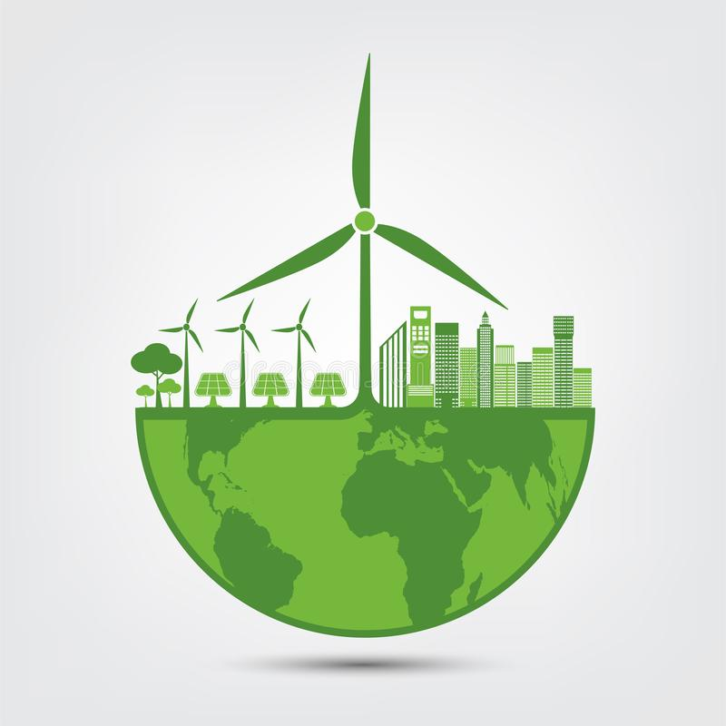 Ecology and Environmental Concept,Earth Symbol With Green Leaves Around Cities Help The World With Eco-Friendly Ideas. Nature, plant, background, tree, energy royalty free illustration
