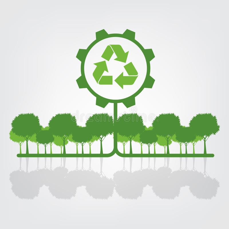 Ecology and Environmental Concept,Earth Symbol With Green Leaves Around Cities Help The World With Eco-Friendly Ideas. Nature, plant, background, tree, energy stock illustration