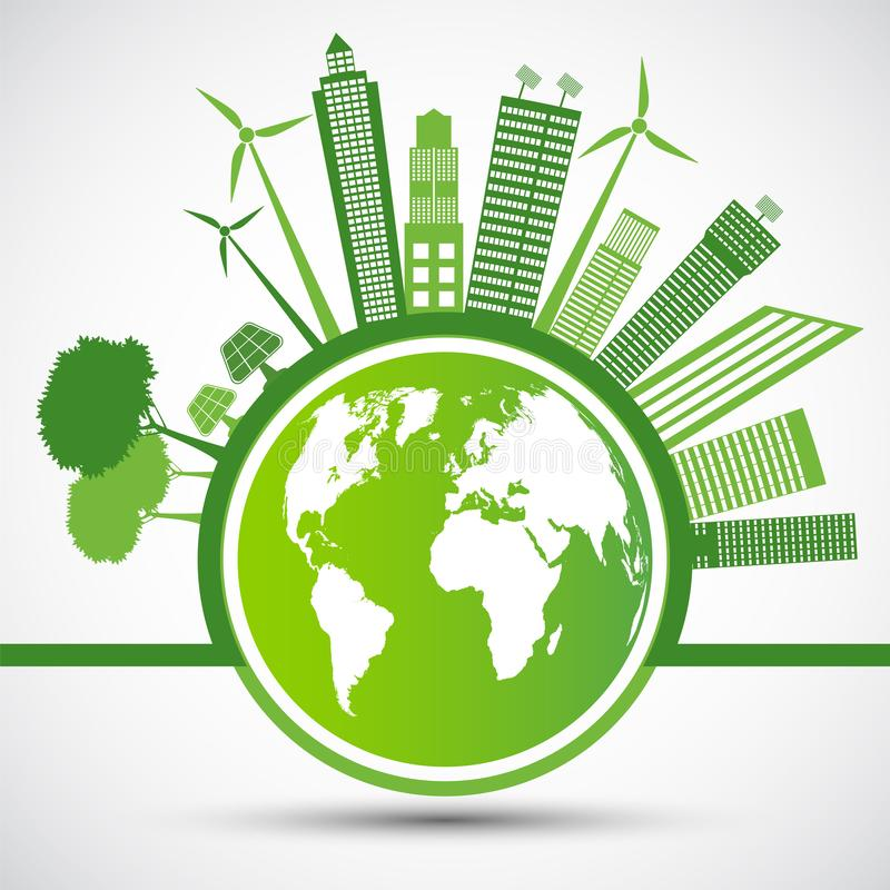 Ecology and Environmental Concept,Earth Symbol With Green Leaves Around Cities Help The World With Eco-Friendly Ideas,Vector. Llustration royalty free stock photo