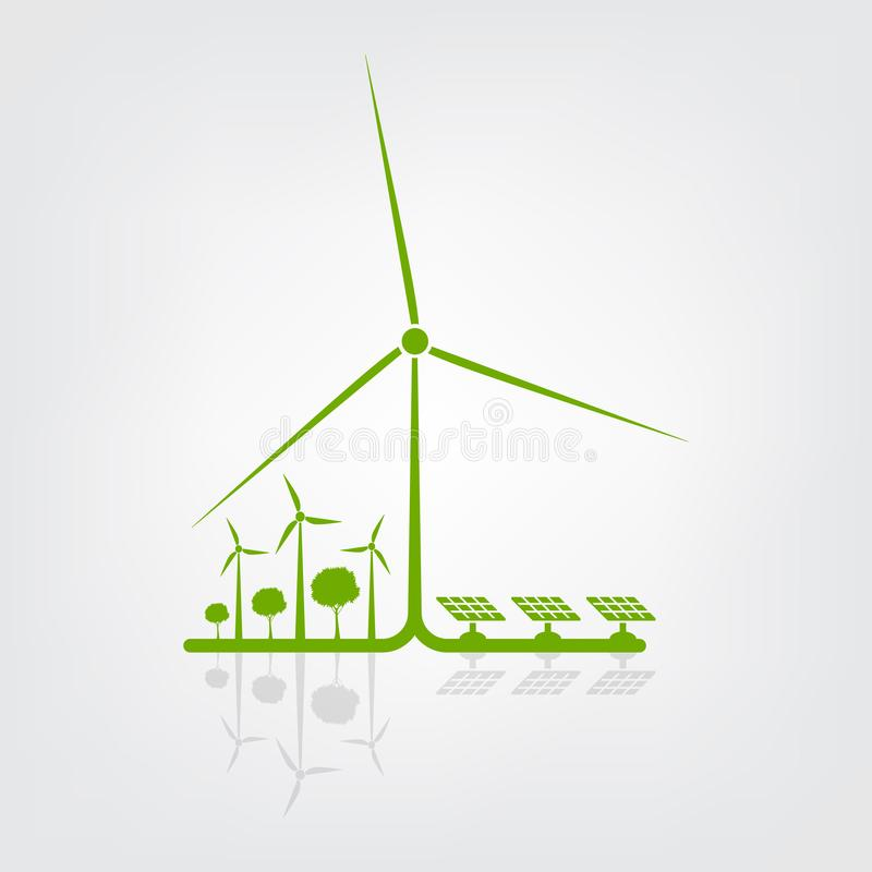 Ecology and Environmental Concept,Earth Symbol With wind turbine The World With Eco-Friendly Ideas. Green, nature, tree, background, natural, plant, design vector illustration