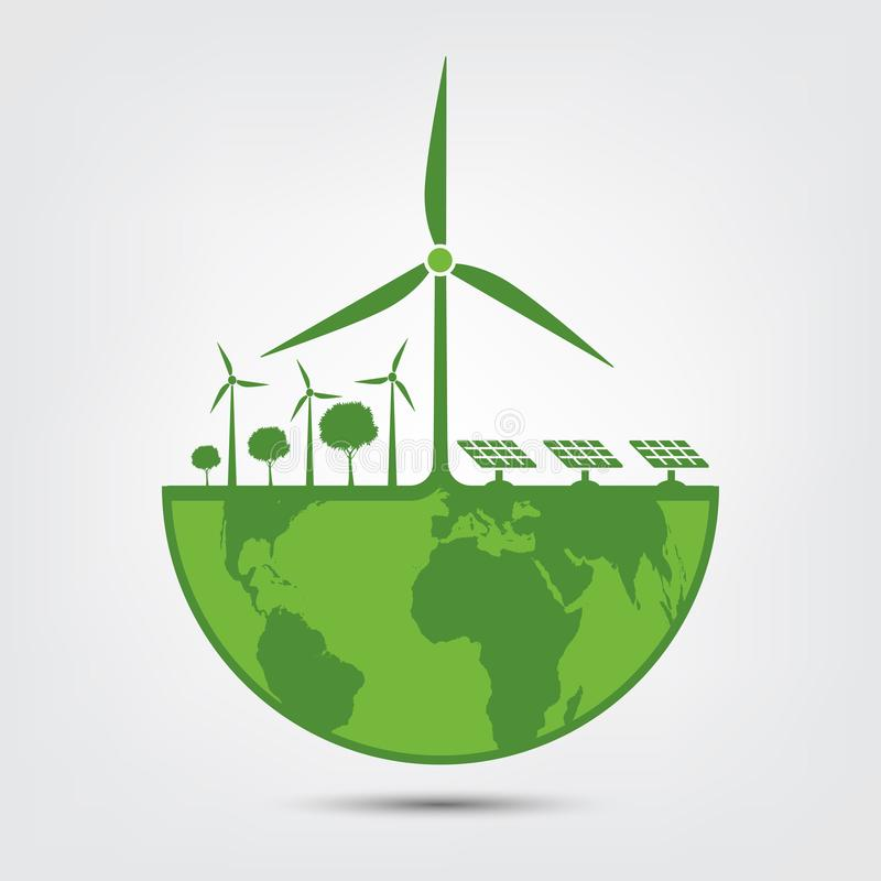 Ecology and Environmental Concept,Earth Symbol With wind turbine The World With Eco-Friendly Ideas. Green, nature, tree, background, natural, plant, design stock illustration