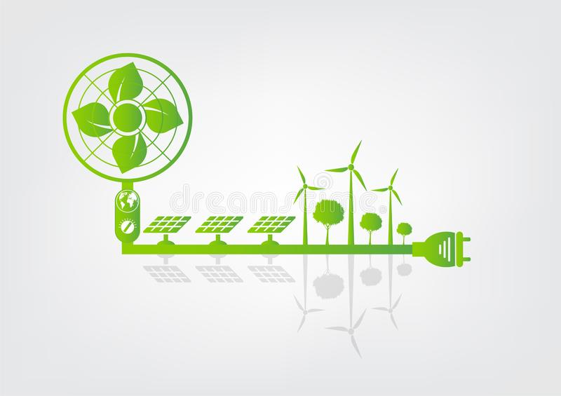 Ecology and Fan Concept,Earth Symbol With Green Leaves Around Cities Help The World With Eco-Friendly Ideas. Environment, nature, environmental, tree stock illustration