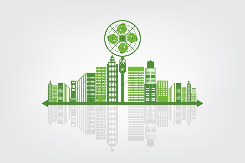 Ecology and Fan Concept,Earth Symbol With Green Leaves Around Cities Help The World With Eco-Friendly Ideas. Environment, nature, environmental, tree vector illustration