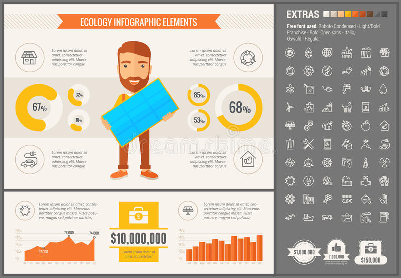 Ecology flat design Infographic Template. Ecology infographic template and elements. The template includes illustrations of hipster men and huge awesome set of royalty free illustration