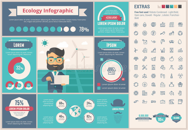 Ecology flat design Infographic Template. Ecology infographic template and elements. The template includes illustrations of hipster men and huge awesome set of vector illustration