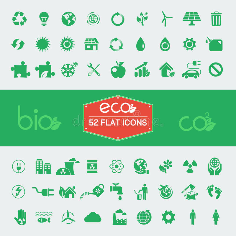 Ecology Flat Icon Set vector illustration