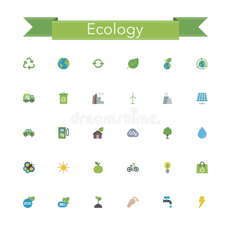 Download Ecology Flat Icons stock vector. Illustration of colored - 60752924