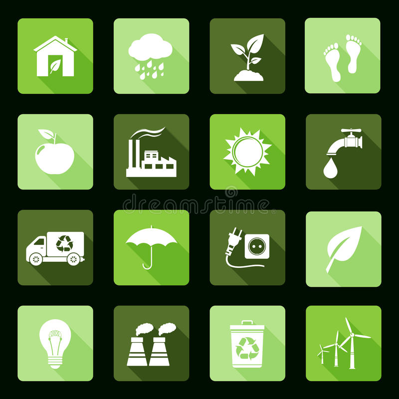 Ecology flat icons royalty free stock image