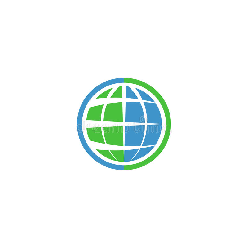 Ecology globe logo, green technology graphic sing, idea natural tech symbol vector illustration