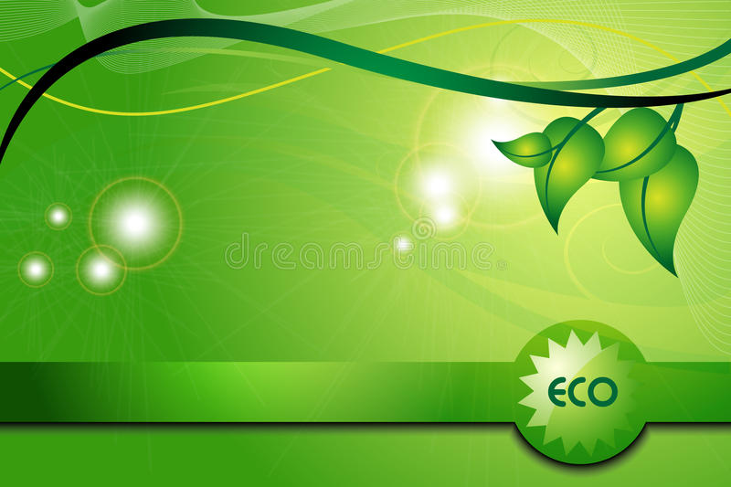 Ecology green background. With leaves and ribbon vector illustration