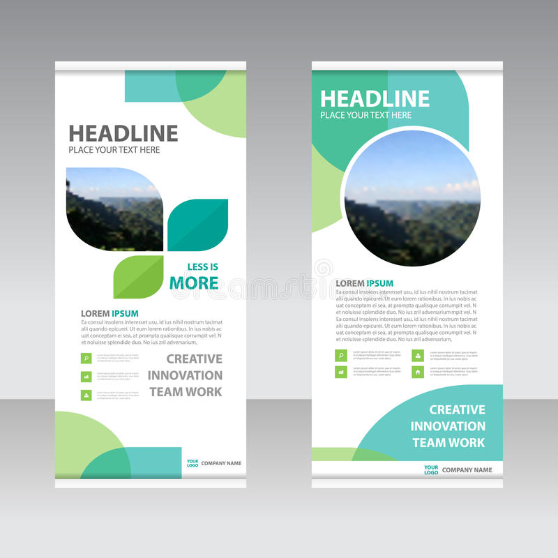 Ecology green Business Roll Up Banner flat design template ,Abstract Geometric banner Vector illustration set stock illustration