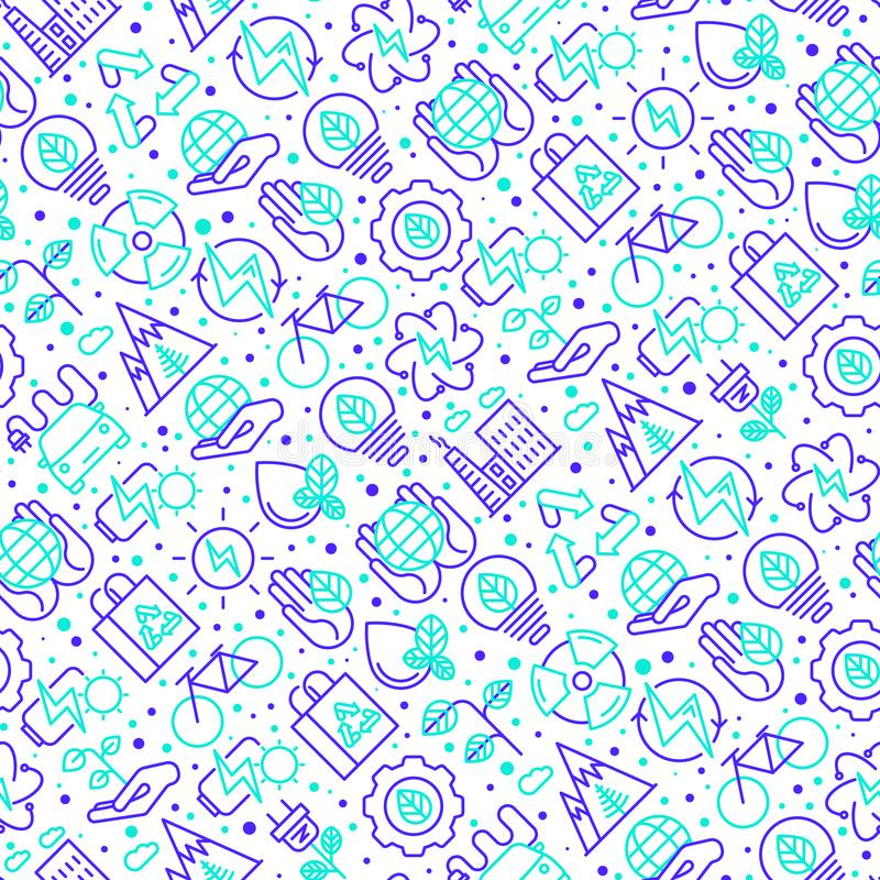 Ecology and green energy seamless pattern royalty free illustration