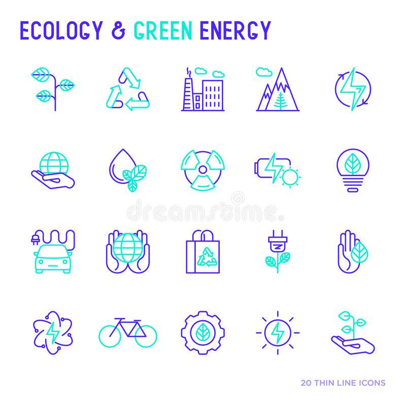 Ecology and green energy thin bicolor line icons royalty free illustration