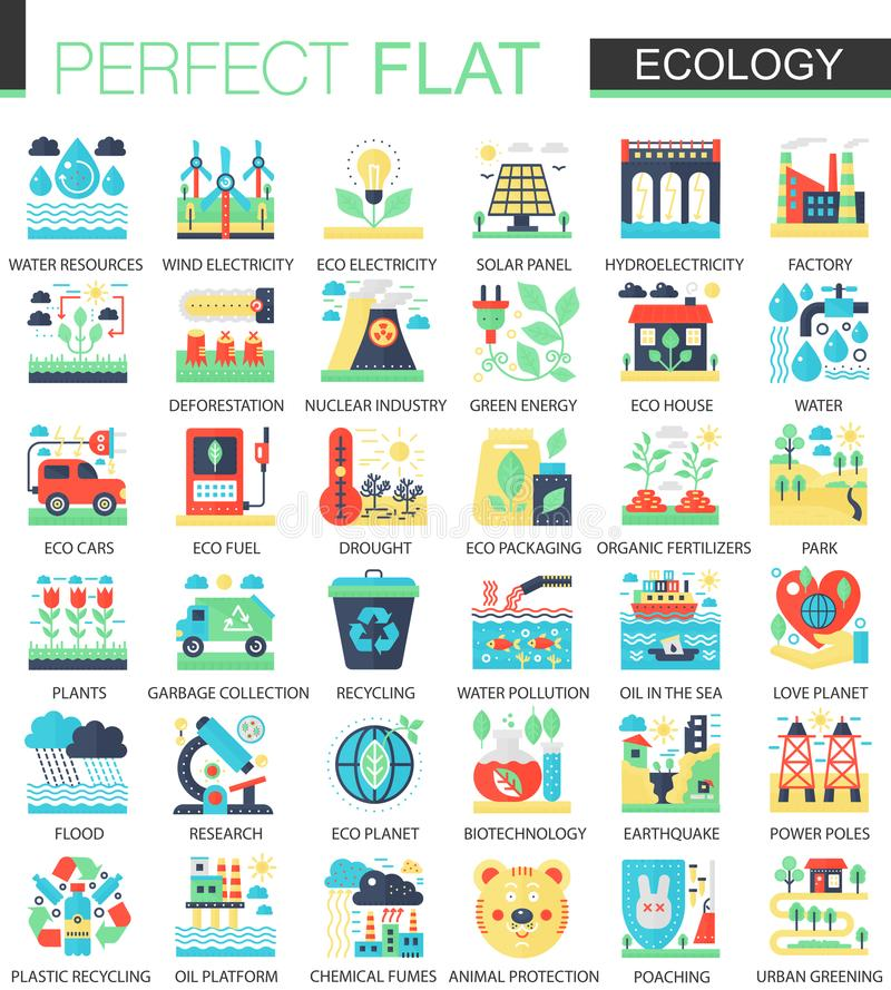 Ecology and green energy vector complex flat icon concept symbols for web infographic design. royalty free illustration