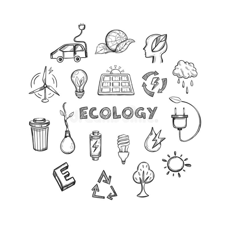 Ecology Hand Drawn Icons Set. Of alternative energy climate protection and environment save isolated vector illustration royalty free illustration