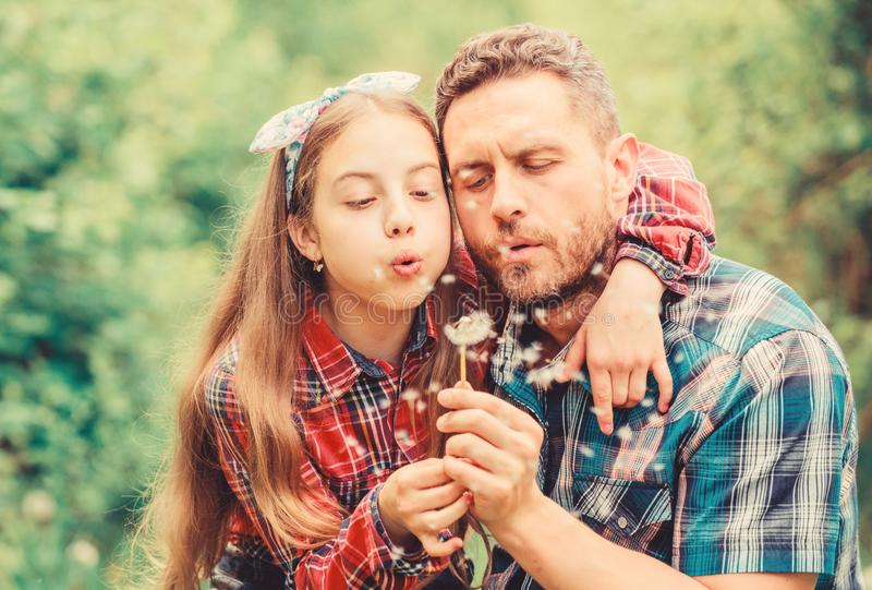 Ecology. Happy family day. little girl and happy man dad. earth day. spring village country. family summer farm royalty free stock photos