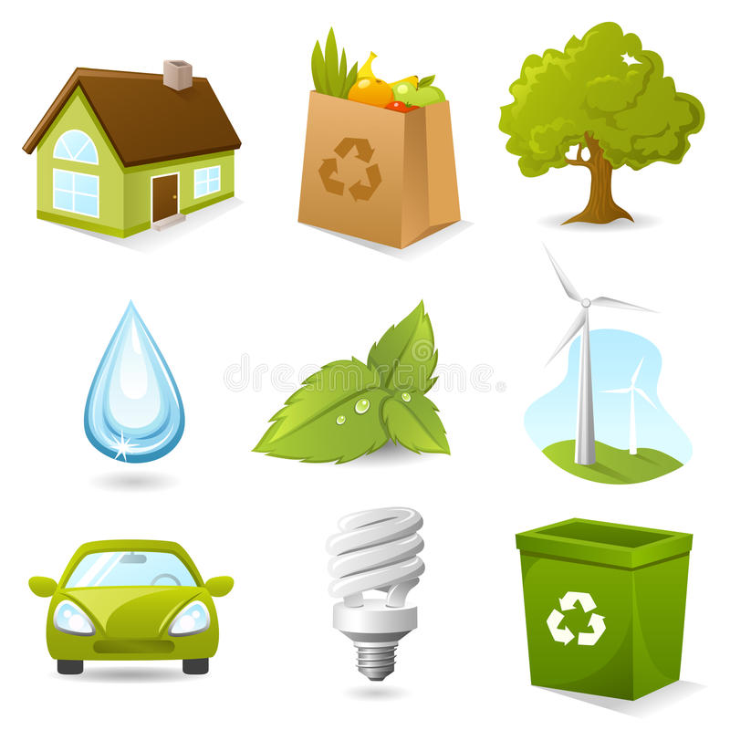 Ecology icon set stock illustration