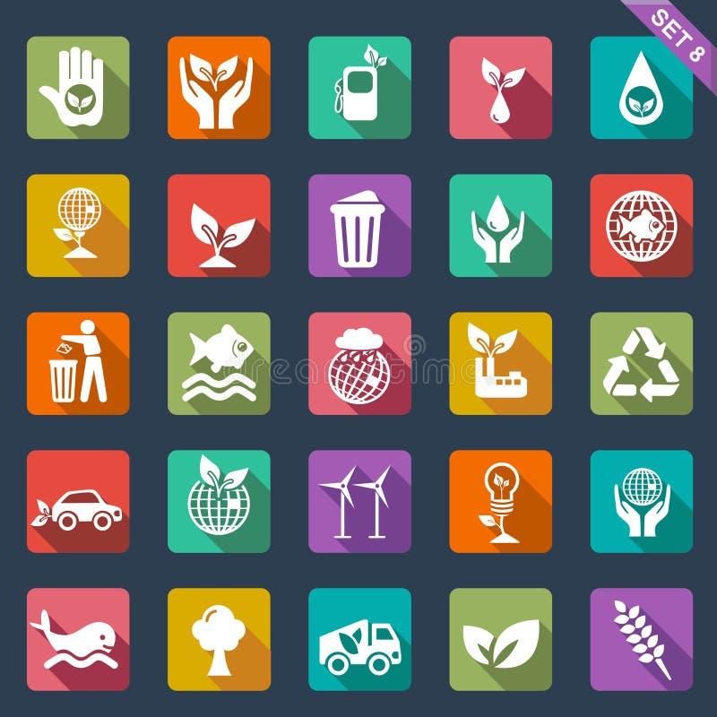 Ecology icons - flat design stock illustration