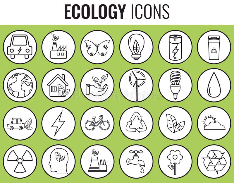 Ecology icons set. Icons for renewable energy, green technology. Hand drawn. Vector. Illustration vector illustration