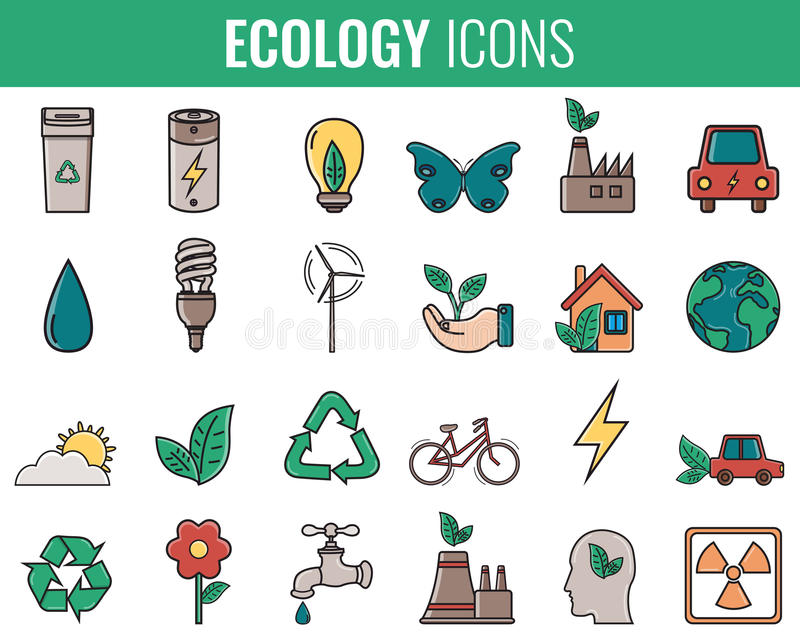 Ecology icons set. Icons for renewable energy, green technology. Hand drawn. Vector. Illustration royalty free illustration