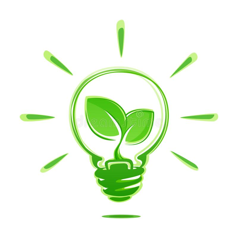 Ecology idea green bulb with plant vector illustration. Ecology concept green energy. Ecological energy vector symbol. Ecology idea green bulb with plant vector vector illustration