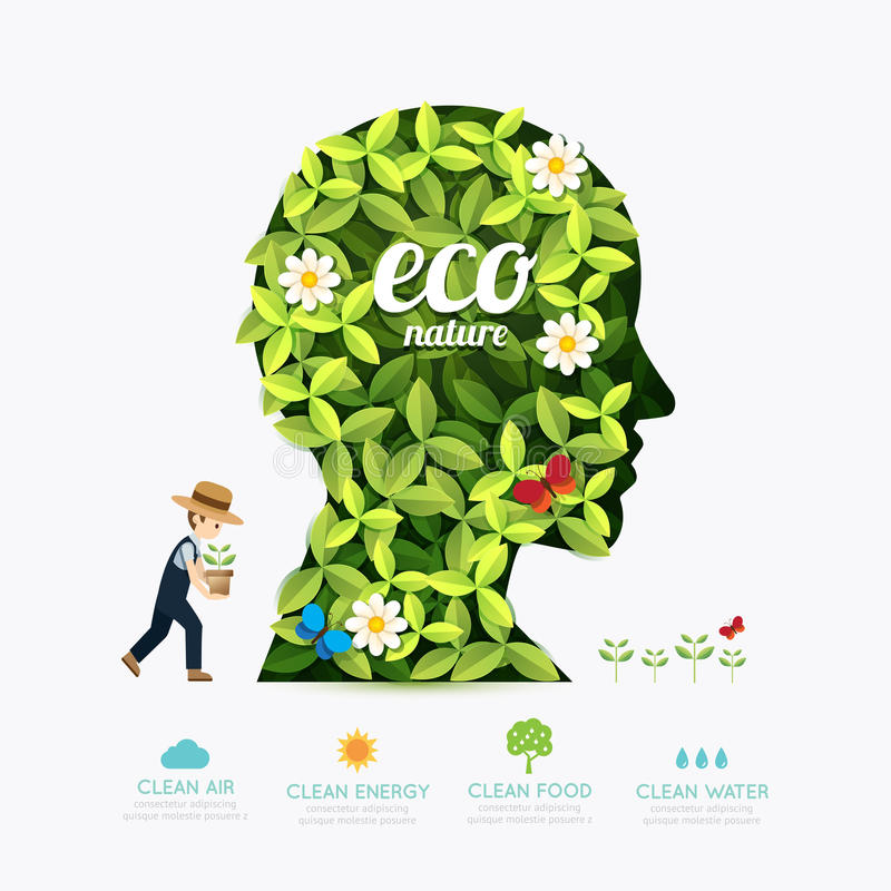 Ecology infographic green head shape with farmer template design stock illustration