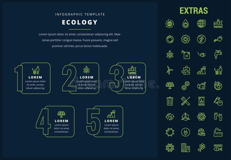 Ecology infographic template, elements and icons. Ecology options infographic template, elements and icons. Infograph includes line icon set with resources of