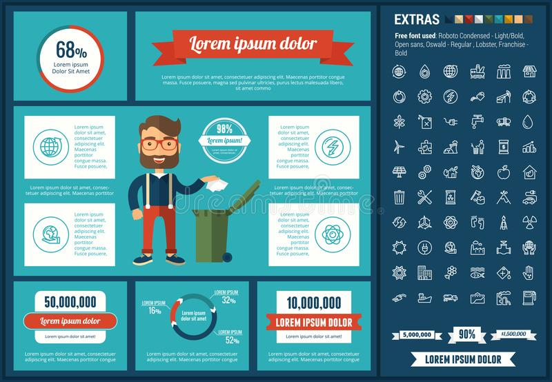 Ecology flat design Infographic Template. Ecology infographic template and elements. The template includes illustrations of hipster men and huge awesome set of stock illustration
