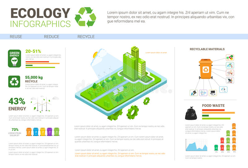 Ecology Infographics World Environmental Protection Green Energy Concept Banner With Copy Space. Vector Illustration stock illustration