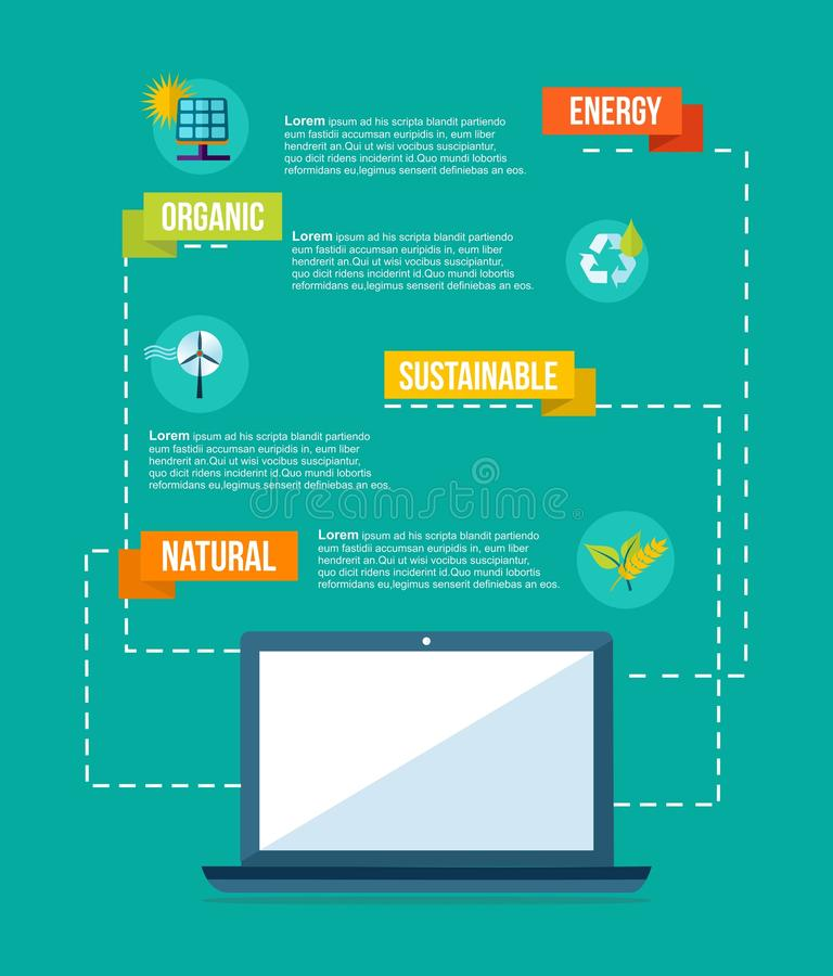Ecology and internet flat design info graphics royalty free stock photo