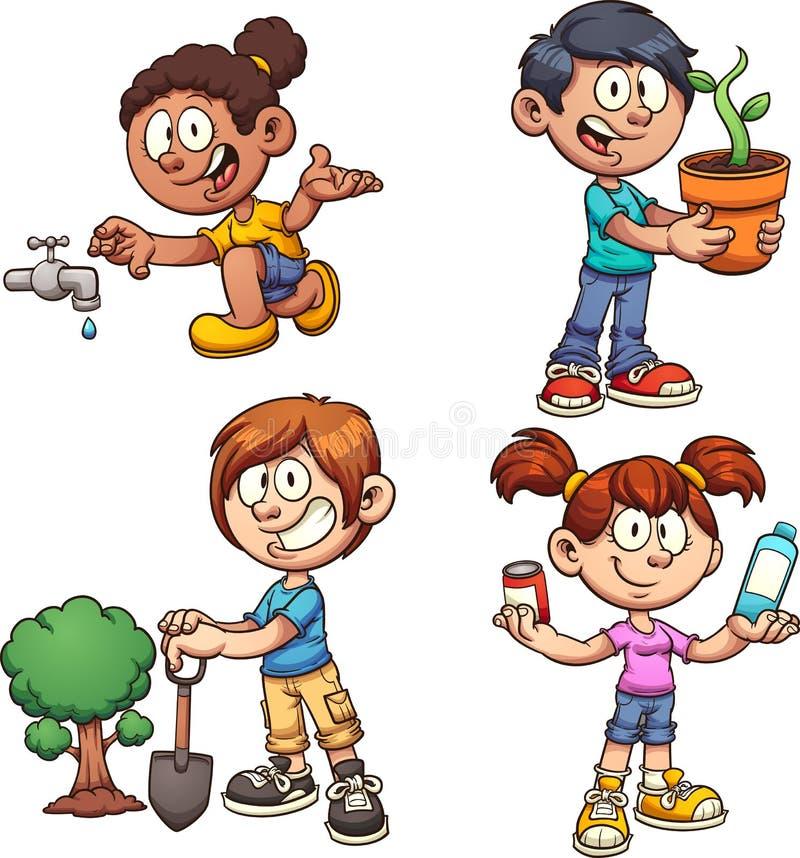 Ecology kids royalty free illustration