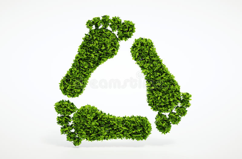 Ecology leaf footprint recycling symbol. 3d render ecology leaf footprint recycling symbol with white background vector illustration