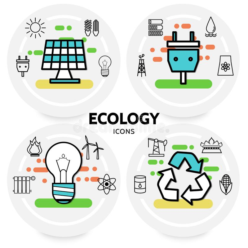 Ecology Line Icons Concept. With solar panel plug socket sun bulbs trash battery radiator windmill oil barrel drilling rig recycle symbols isolated vector royalty free illustration