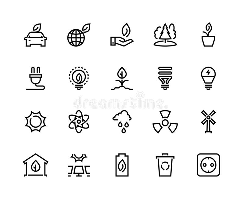 Ecology line icons. Eco nature green environment green water solar wind energy earth climate waste recycle vector illustration