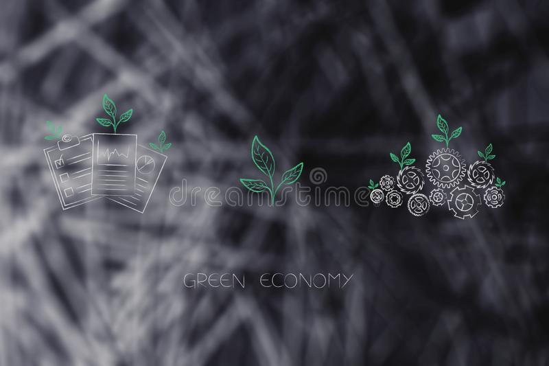 Ecology mechanism with leaves growing on gearwheels with green b. Green economy conceptual illustration: ecology mechanism with leaves growing on gearwheels with royalty free stock image